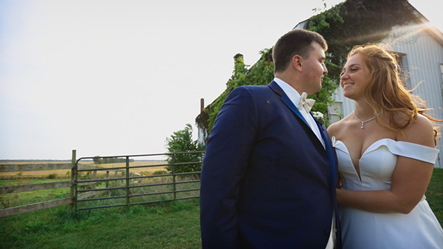 Newlywed, couple, Married, photo, next to a barn, in the sunset, looking, eyes